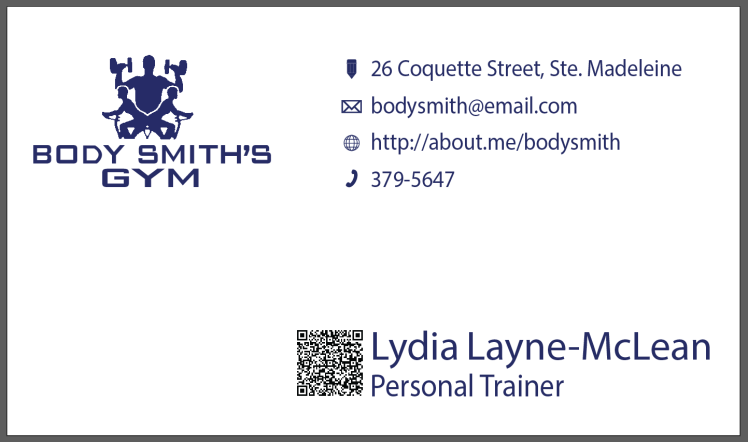 Bodysmith Gym Business Card