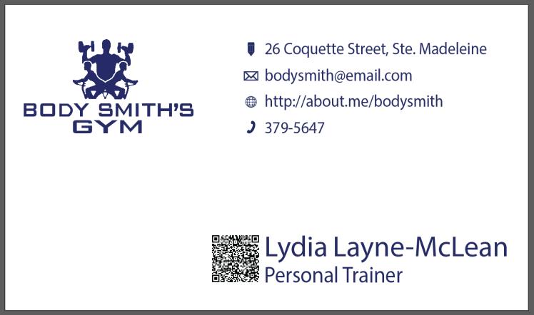 Bodysmith Gym Business Card
